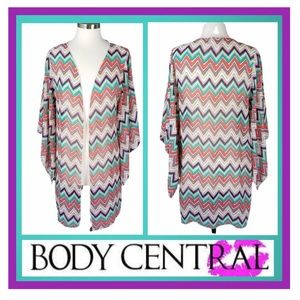 🌷Body Central Sheer Chevron Open-Front Cardigan